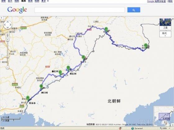 从鸭绿江入海口丹东开始沿着中朝边境线