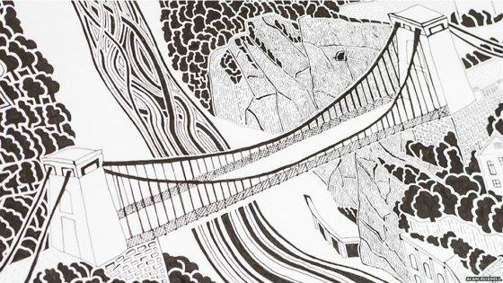 这幅手绘地图包括布里斯托的一些著名地标,比如克利夫顿吊桥等.
