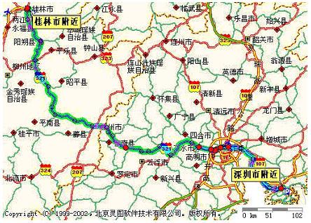 深圳到桂林阳朔路线图,住宿.(给袈裟的)图片