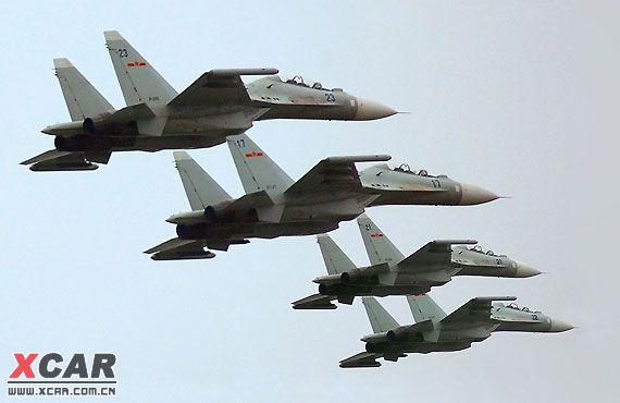 中国空军歼11战斗机编队
