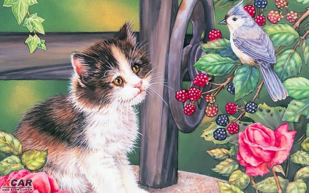 手绘猫咪桌面.