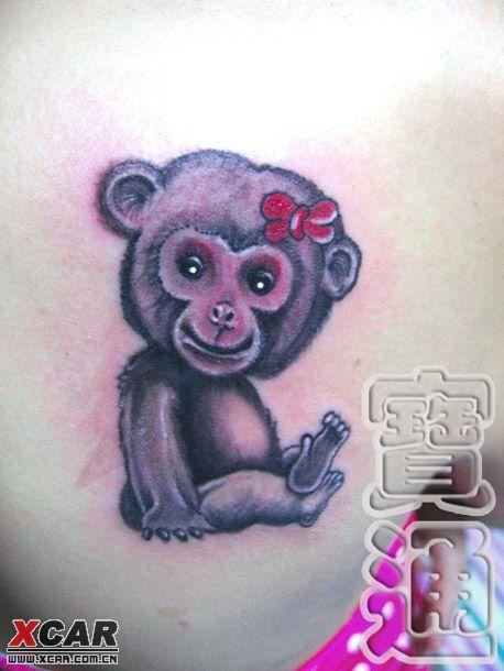 国画纹身图片可爱的小猪