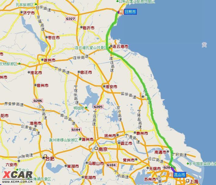南通---盐城----连云港----日照路线:昆山周市长江路(上绕城高速)