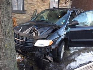 刹车失灵险些丧命 爱车撞上大树已报废