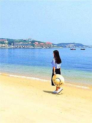 赏威海沙滩落日余晖